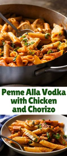 My penne alla vodka is creamy and full of deep tomato flavor from homemade marinara along with plenty of seared chicken and chorizo sausage. Easy weeknight meal