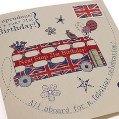 Handmade 21st Birthday Card - British Bus Union Jack - 'Stupendous! It's your 21st Birthday! Buy Here: http://thehandcraftedcardcompany.co.uk/cardcrafts/8143-tickety-boo.asp?refid=8155