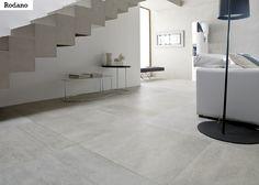 Hillityn kaunis betonimainen laattasarja Rodano sopii avariin tiloihin. EP Rodano Acero 60x60 cm.