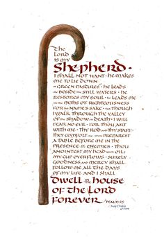 Psalm 23 Painting by Judy Dodds - Psalm 23 Fine Art Prints and Posters for Sale Scripture Art, Bible Art, Bible Scriptures, Bible Quotes, Prayer Quotes, Lord Is My Shepherd, The Good Shepherd, Psalm 23, Spiritual Inspiration