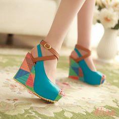 Womens Shoes Peep Toe Multi Color High Wedge Heel Slingbacks Ankle Cross Strap