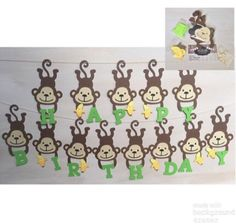 Monkey banner - monkey baby shower - monkey birthday - safari banner - safari birthday - safari part Monkey Birthday Parties, Jungle Theme Birthday, First Birthday Party Themes, Safari Birthday Party, Happy Birthday Banners, Birthday Charts, Birthday Ideas, Safari Party, Jungle Party