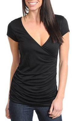 Stanzino Women's Basic Cap Sleeve V-neck Top Stanzino. $17.50