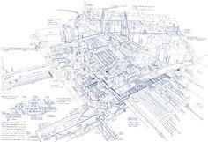 細い、ブルーのボールペンの線で、複雑にして巨大な東京の駅の姿を事細かに描き出す。建築家・田中智之の、3つの「解体」作品を紹介。