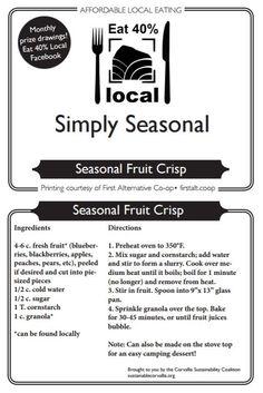 Seasonal fruit crisp