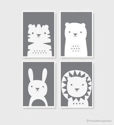 Printable Nursery Art Set of 3 Poster Baby room Wall art Kids room decor Mint Gray Pink Bear Bunny Penguin animals Print Boy Room, Kids Room, Child Room, Art Wall Kids, Art For Kids, Nursery Art, Nursery Decor, Room Decor, Animal Posters