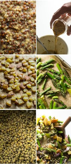 Roasted Potato and Asparagus Lentil Salad with Tangy Mustard Lemon Dressing.