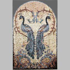 "Two Peacocks Stone Mosaic Mural 45"" x 37"""