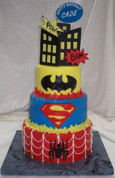 awesome cakes | This awesome Superheroes Cake was made by Cakes By Bert . This ...