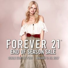 Check out FOREVER 21 END OF SEASON SALE!  Get ready to grab your favorite fashion pieces at Forever 21! Deals starts at P299!  Promo available from January 6 - 19, 2017!  For more promo deals, VISIT http://mypromo.com.ph/! SUBSCRIPTION IS FREE! Please SHARE MyPromo Online Page to your friends to enjoy promo deals!