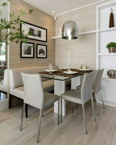 Make the most of small spaces. Small spaces have perfect potential when it relates to home interior design. It sets the decorative trend and scheme, and also can modify the room's look[. Dinning Room Tables, Kitchen Dinning, Dining Room Design, Dining Area, Dining Rooms, Corner Kitchen Tables, Dining Chair, Home Interior, Interior Design