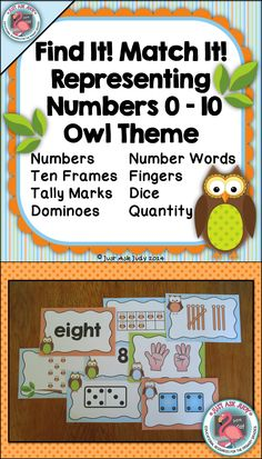 This versatile resource includes half-page cards with large text showing the numbers 0-10 represented in 8 ways- numbers, number words, ten frames, fingers, tally marks, dice, dominoes, and quantity with an attractive owl theme. An optional recording sheet is included. It is designed as a practice or review activity, which incorporates movement. It can be used whole class, small group, or even with an individual student. $ PreK-K