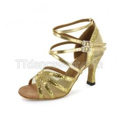 Free Shipping Wholesale Gold Glitter Two Buckle Ballroom Latin Dance Shoes