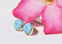 Larimar Earrings, Original And Genuine Dominican AA Marbled Round Shape Larimar Stones 14K Yellow Gold Post/Stud Earrings Jewelry by DominicanArts on Etsy