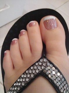 Sparkly Pink toenails with white tips