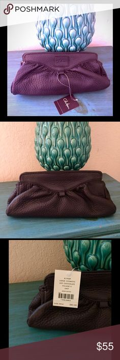 """Cole Haan Large Village II Cosmetic Bag/Clutch Large cosmetic bag or clutch in """"Hot Chocolate"""" with dual magnetic closures. Cole Haan Bags"""