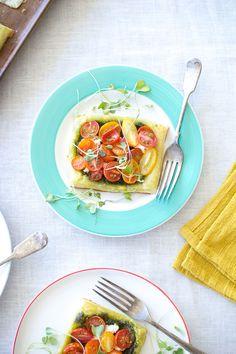 Tomato, Goat Cheese and Basil Pesto Puff Pastry Tarts | Flourishing Foodie