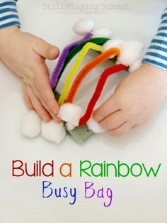 Still Playing School: Pipe Cleaner Rainbow Busy Bag Preschool At Home, Toddler Preschool, Toddler Activities, Preschool Prep, St Patrick's Day Crafts, Easy Crafts, Crafts For Kids, Quiet Time Activities, Preschool Activities