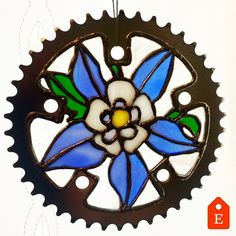 https://www.etsy.com/shop/NightShiftGlass Stained Glass Flowers, Stained Glass Designs, Stained Glass Projects, Stained Glass Art, Stained Glass Patterns, Mosaic Glass, Metal Projects, Fused Glass, Bicycle Decor
