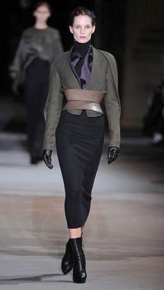 Jacket, skirt and belt all by Haider Ackermann autumn/winter 12-13