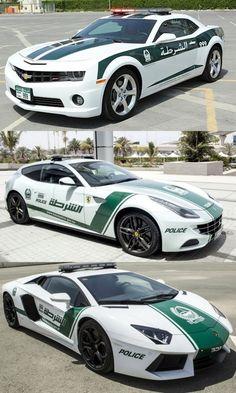 Dubai Police cars Ferrari FF, Lamborghini Aventador and Chevy Camaro. CRAZY!!!!