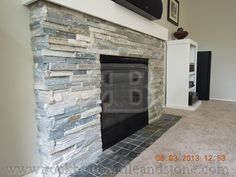 Rock Bottom Tile and Stone - Marble and Tile Customer Gallery Wood Stove Surround, Fireplace Mantle, Fireplace Ideas, Stone Panels, Entertainment Center, Family Room, Sweet Home, New Homes, House