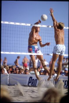 #real #80s #people #beach #volleyball #tournament