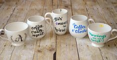 Mugs using painted by me markers which are food safe, dishwasher and microwave safe!