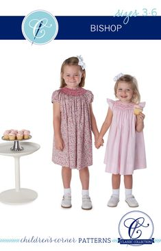 Our new Children's Corner Bishop is the classic, raglan-sleeved bishop with smocking around the neck. It falls just below the knee. The revised Bishop pattern is inspired by the original Betsy, Gwen, and Ki bishop patterns by Elizabeth Travis Johnson, and includes two views that close in the back. VIEW A has an easy self-faced placket with a seam up the center back. VIEW B has a continuous bound placket, and the back is cut on the fold. Choose from four different sleeves: banded puff, angel, and Smocking, Angel Sleeve, Shank Button, Heirloom Sewing, Liberty Fabric, Long Shorts, Classic Collection, 6 Years, Sewing Patterns