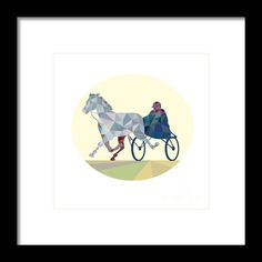 Horse And Jockey Harness Racing Low Polygon Framed Print By Aloysius Patrimonio. Low polygon style illustration of a horse and jockey harness racing viewed from the front set on isolated white background. #illustration #HorseAndJockeyHarness