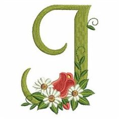 Rose Alphabet J embroidery design Flower Alphabet, Monogram Alphabet, Magazine Design, Floral Embroidery, Machine Embroidery Designs, Free Design, Symbols, Letters, Quilts