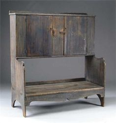 FABULOUS LARGE 18TH CENTURY BUCKET BENCH WITH CUP
