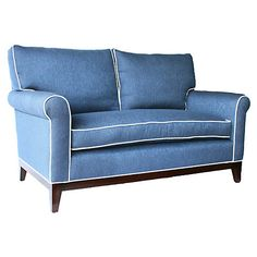 "Beverly 60"" Sofa, Blue"