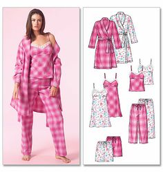 Misses' Robe, Belt, Top, Nightgown, Shorts and Pants
