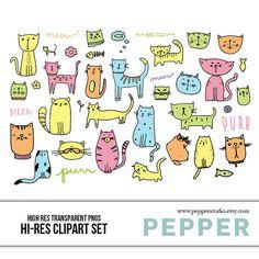 INSTANT DOWNLOAD  Kitties Clipart Set  Hi Res by PepperStudio