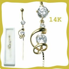 14k Gold Belly Ring Curved Design with Clear CZ - Sold Individually WickedBodyJewelz - Belly Rings. $175.50