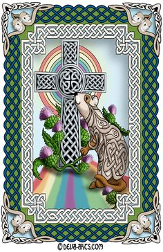 Celtic ferret in knotwork at the Rainbow Bridge. Frame blends both Celtic and art nouveau styles.