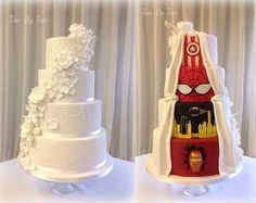 Formal in the front, super hero party in the back 2 for 1 Cake Wrecks - Home - Sunday Sweets: Geek Chic Wedding Cakes