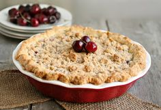 Recipe for a deep dish cherry pie with homemade crust and crumb topping. Cherry Pie Crumb Topping, Cherry Pie Crumble, Pie Crumble Topping, Cherry Desserts, Cherry Recipes, Just Desserts, Delicious Desserts, Yummy Food, Deep Dish