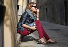 Black leather jacket-grey scarf-red skinny jeans- leopard flats