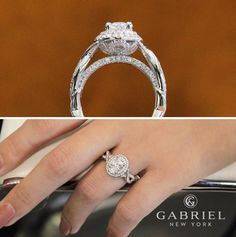 "Gabriel & Co.-Voted <a class=""pintag searchlink"" data-query=""%231"" data-type=""hashtag"" href=""/search/?q=%231&rs=hashtag"" rel=""nofollow"" title=""#1 search Pinterest"">#1</a> Most Preferred Fine Jewelry and Bridal Brand. Stylish and elegant 14k White Gold Oval Double Halo Engagement Ring."