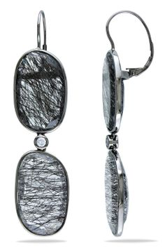 Eclipse 52 Ct White Sapphire & Rutile Earrings In 14k White Gold