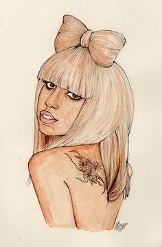 INSANE awesome Lady Gaga art by http://dollychops.tumblr.com/