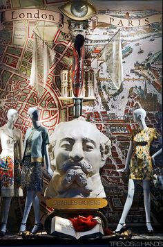 "London-Paris, pinned by Ton van der Veer  Love the extraordinary idea of mannequins alongside a piece of sculpture as a ""group"". popuprepublic.com"