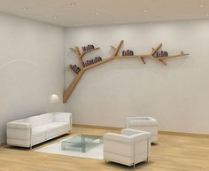 Tree limb bookshelves for kid room