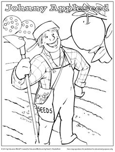 This charming Johnny Appleseed coloring sheet celebrates an American legend.