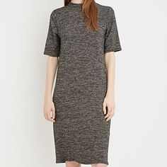 NWOT Mock neck dress by Forever 21 Mock neck dress from Forever 21. Never worn. Soft knit fabric, marled effect. Good to dress up or down. Forever 21 Dresses Midi