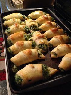 Spinach feta and mozzarella stuffed croissants