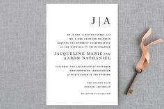 """Sophistotype"" - Simple, Monogrammed Wedding Invitation Petite Cards in Sea Salt by Snow and Ivy."