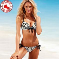 1d378484d2 Push-up Bikini Zebra Bademode Halter Bikini